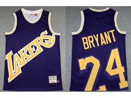 Mens Nba Los Angeles Lakers #24 Kobe Bryant Purple Printing Mitchell&ness Hardwood Classics Jersey