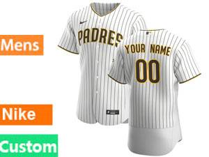 Mens San Diego Padres Custom Made Home 2020 White Stripe Flex Base Jersey