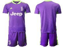 Mens 20-21 Soccer Juventus Club ( Custom Made ) Purple Goalkeeper Short Sleeve Suit Jersey