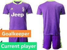 Mens 20-21 Soccer Juventus Club Current Player Purple Goalkeeper Short Sleeve Suit Jersey