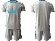 Mens 20-21 Soccer Juventus Club ( Custom Made ) Gray Goalkeeper Short Sleeve Suit Jersey