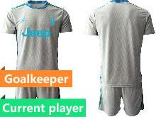 Mens 20-21 Soccer Juventus Club Current Player Gray Goalkeeper Short Sleeve Suit Jersey