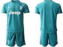 Mens 20-21 Soccer Juventus Club ( Custom Made ) Blue Goalkeeper Short Sleeve Suit Jersey