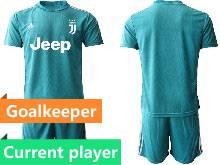 Mens 20-21 Soccer Juventus Club Current Player Blue Goalkeeper Short Sleeve Suit Jersey
