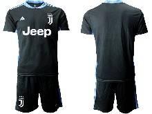 Mens 20-21 Soccer Juventus Club ( Custom Made ) Black Goalkeeper Short Sleeve Suit Jersey