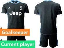 Mens 20-21 Soccer Juventus Club Current Player Black Goalkeeper Short Sleeve Suit Jersey