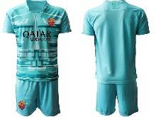 Mens 20-21 Soccer As Roma Club ( Custom Made ) Blue Goalkeeper Short Sleeve Suit Jersey