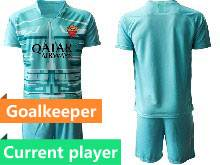 Mens 20-21 Soccer As Roma Club Current Player Blue Goalkeeper Short Sleeve Suit Jersey