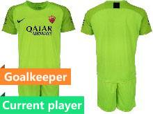 Mens 20-21 Soccer As Roma Club Current Player Green Goalkeeper Short Sleeve Suit Jersey