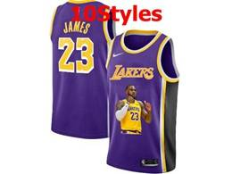 Mens Nba Los Angeles Lakers #23 Lebron James Purple Portrait Swingman Nike Jersey 10 Styles