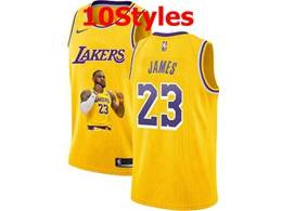 Mens Nba Los Angeles Lakers #23 Lebron James Yellow Portrait Swingman Nike Jersey 10 Styles