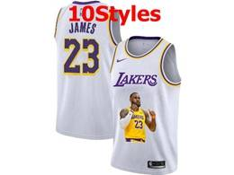 Mens Nba Los Angeles Lakers #23 Lebron James White Portrait Swingman Nike Jersey 10 Styles