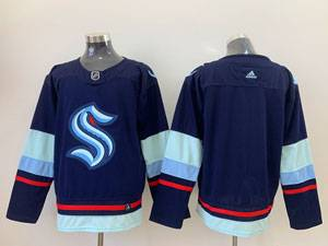 Mens Nhl Seattle Kraken Blank Blue Adidas Jersey