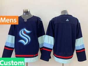 Mens Nhl Seattle Kraken Custom Made Blue Adidas Jersey