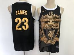 Mens Nba Los Angeles Lakers #23 Lebron James And Liverpool Black Golden Nike Swingman Jersey