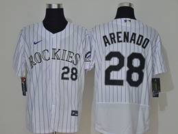 Mens Mlb Colorado Rockies #28 Nolan Arenado White Stripe Flex Base Nike Jersey