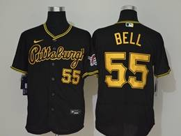 Mens Mlb Pittsburgh Pirates #55 Josh Bell Black Flex Base Nike Jersey