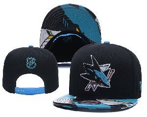 Mens Nhl San Jose Sharks Falt Snapback Adjustable Hats Black