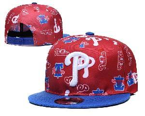 Mens Mlb Philadelphia Phillies Falt Snapback Adjustable Hats Red