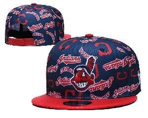 Mens Mlb Cleveland Indians Falt Snapback Adjustable Hats Blue