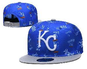 Mens Mlb Kansas City Royals Falt Snapback Adjustable Hats Blue