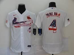 Mens Mlb St.louis Cardinals #4 Yadier Molina White Usa Flag Flex Base Nike Jersey