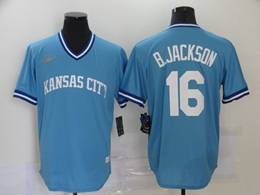 Mens Mlb Kansas City Royals #16 B.jackson Light Blue Pullover Cool Base Nike Jersey