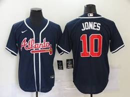 Mens Mlb Atlanta Braves #10 Chipper Jones Blue Cool Base Nike Jersey