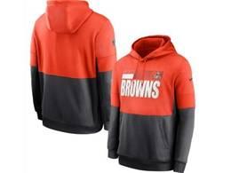 Mens Nfl Cleveland Browns Orange And Black Pocket Hoodie Nike Jersey