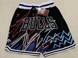 Mens Nba Chicago Bulls Black Lightning Printing Just Don Pocket Shorts