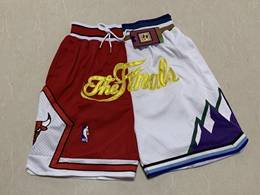 Mens Nba Chicago Bulls Red&white Nba Finals Just Don Pocket Shorts