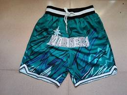Mens Mlb Seattle Mariners Light Blue Lightning Printing Just Don Pocket Shorts