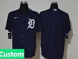Mens Mlb Detroit Tigers Dark Blue Custom Made Cool Base Nike Jersey