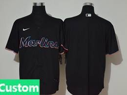 Mens Mlb Miami Marlins Custom Made Black Cool Base Nike Jersey