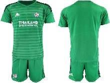 Mens 20-21 Soccer Leicester City Club ( Custom Made ) Green Goalkeeper Short Sleeve Suit Jersey