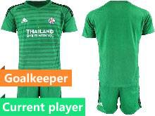 Mens 20-21 Soccer Leicester City Club Current Player Green Goalkeeper Short Sleeve Suit Jersey