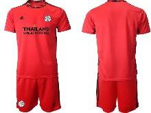 Mens 20-21 Soccer Leicester City Club ( Custom Made ) Red Goalkeeper Short Sleeve Suit Jersey