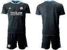 Mens 20-21 Soccer Leicester City Club ( Custom Made ) Black Goalkeeper Short Sleeve Suit Jersey