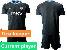 Mens 20-21 Soccer Leicester City Club Current Player Black Goalkeeper Short Sleeve Suit Jersey
