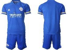 Mens 20-21 Soccer Leicester City Club ( Custom Made ) Blue Home Short Sleeve Suit Jersey