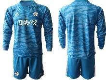 Mens 20-21 Soccer Leicester City Club ( Custom Made ) Blue Goalkeeper Long Sleeve Suit Jersey