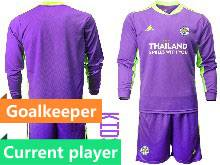 Kids 20-21 Soccer Leicester City Club Current Player Purple Goalkeeper Long Sleeve Suit Jersey
