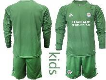 Baby 20-21 Soccer Leicester City Club ( Custom Made ) Purple Goalkeeper Long Sleeve Suit Jersey