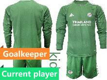 Kids 20-21 Soccer Leicester City Club Current Player Green Goalkeeper Long Sleeve Suit Jersey