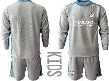 Baby 20-21 Soccer Leicester City Club ( Custom Made ) Gray Goalkeeper Long Sleeve Suit Jersey
