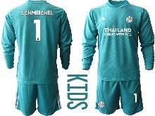 Baby 20-21 Soccer Leicester City Club ( Custom Made ) Blue Goalkeeper Long Sleeve Suit Jersey