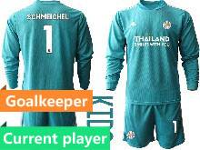 Kids 20-21 Soccer Leicester City Club Current Player Blue Goalkeeper Long Sleeve Suit Jersey