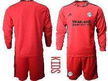 Baby 20-21 Soccer Leicester City Club ( Custom Made ) Red Goalkeeper Long Sleeve Suit Jersey