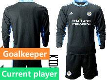 Baby 20-21 Soccer Leicester City Club Current Player Black Goalkeeper Long Sleeve Suit Jersey