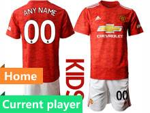 Kids 20-21 Soccer Manchester United Club Current Player Red Home Short Sleeve Suit Jersey